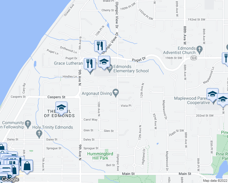 map of restaurants, bars, coffee shops, grocery stores, and more near 1001 Olympic Avenue in Edmonds