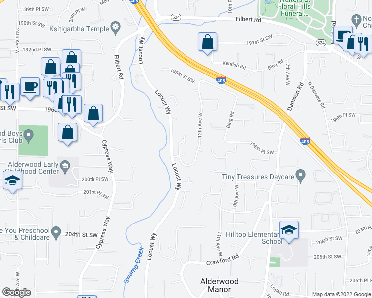 map of restaurants, bars, coffee shops, grocery stores, and more near 1227 199th Street Southeast in Bothell
