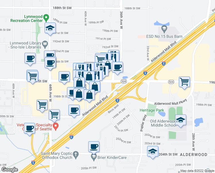 map of restaurants, bars, coffee shops, grocery stores, and more near 3720 196th Street Southwest in Lynnwood
