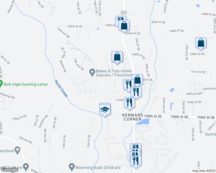 map of restaurants, bars, coffee shops, grocery stores, and more near 1526 192nd Street Southeast in Bothell
