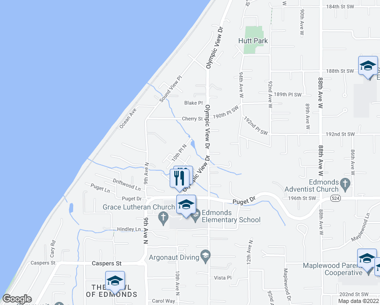 map of restaurants, bars, coffee shops, grocery stores, and more near 1027 Euclid Avenue in Edmonds