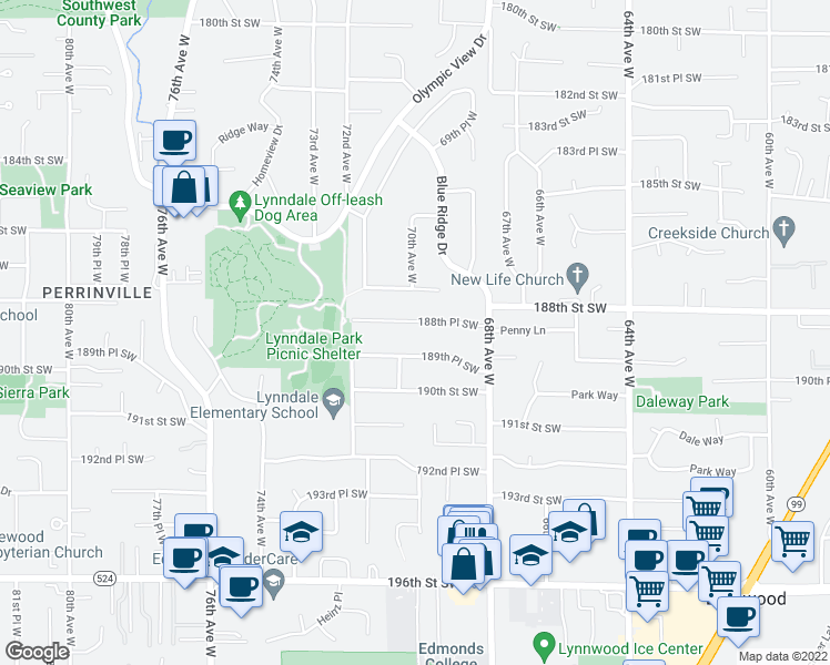 map of restaurants, bars, coffee shops, grocery stores, and more near 7002 188th Place Southwest in Lynnwood