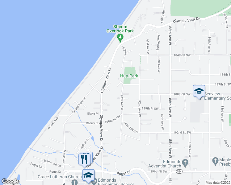 map of restaurants, bars, coffee shops, grocery stores, and more near 18716 94th Avenue West in Edmonds