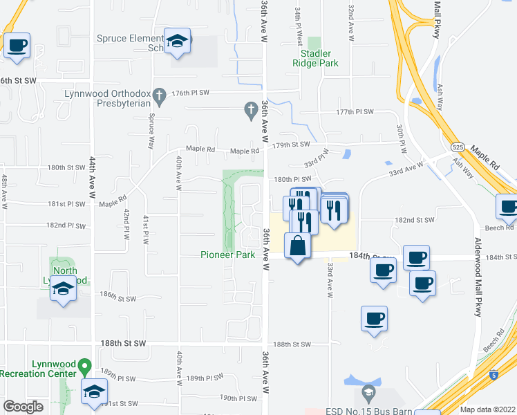 map of restaurants, bars, coffee shops, grocery stores, and more near 18124 36th Avenue West in Lynnwood