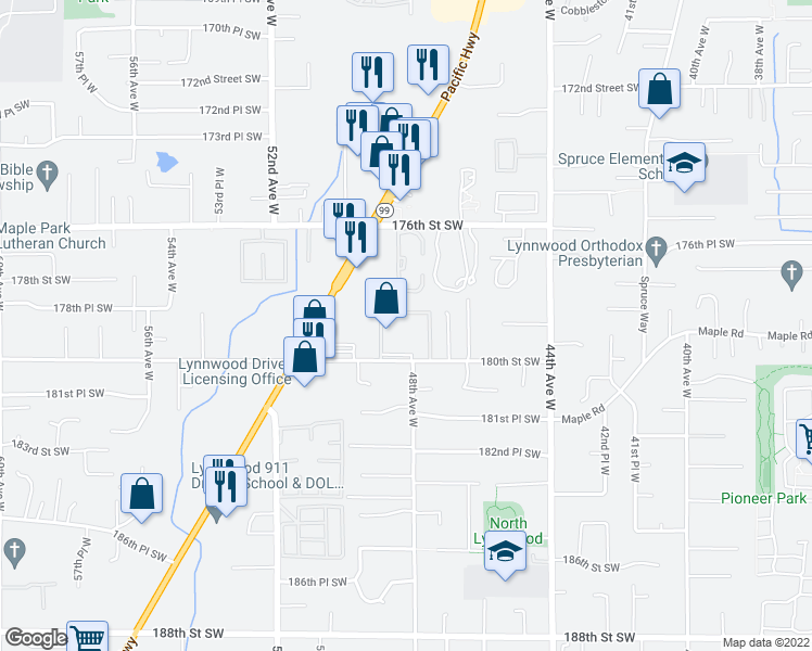 map of restaurants, bars, coffee shops, grocery stores, and more near 4821 180th Street Southwest in Lynnwood