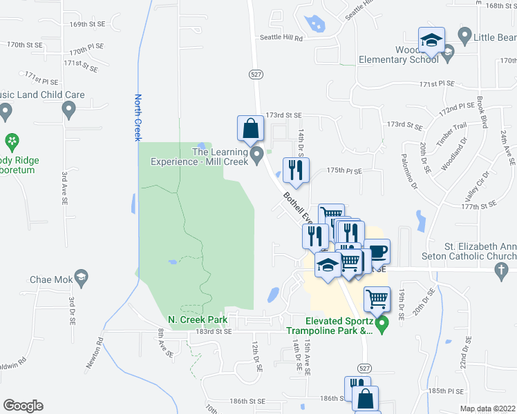 map of restaurants, bars, coffee shops, grocery stores, and more near in Mill Creek