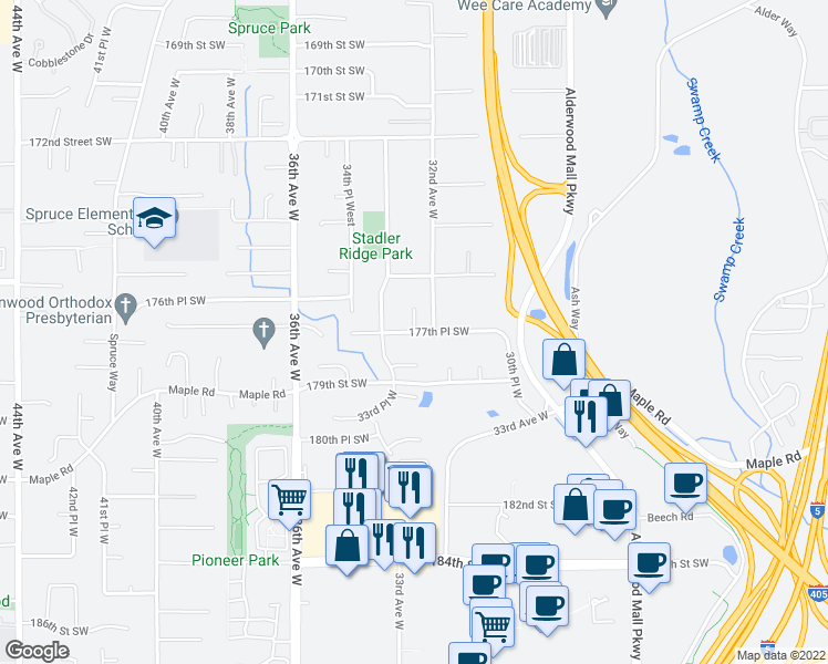 map of restaurants, bars, coffee shops, grocery stores, and more near 17811 32nd Place West in Lynnwood
