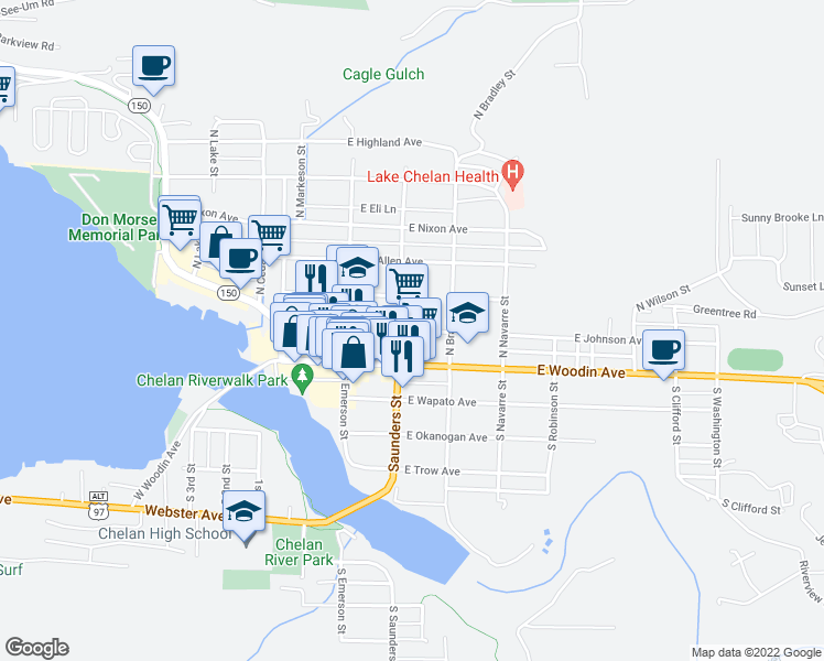 map of restaurants, bars, coffee shops, grocery stores, and more near 217 North Saunders Street in Chelan