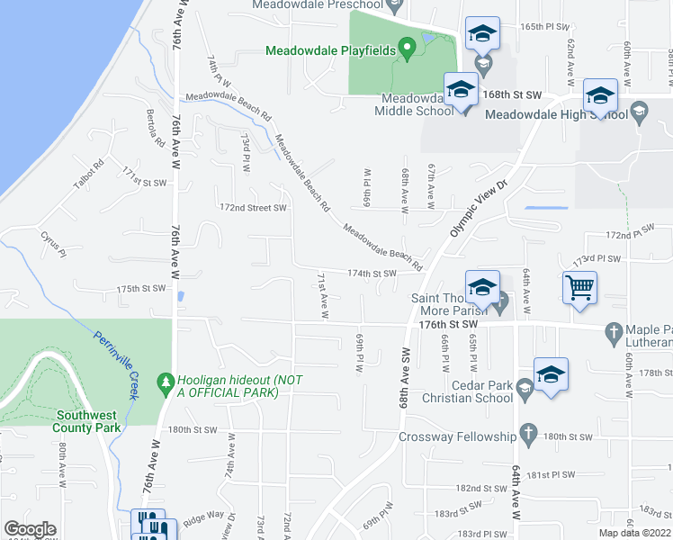 map of restaurants, bars, coffee shops, grocery stores, and more near 6931-7005 174th Street Southwest in Edmonds