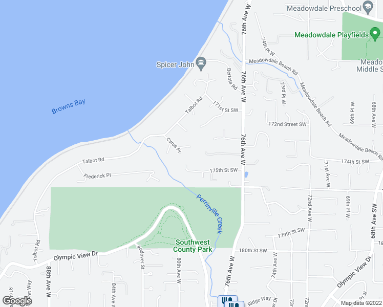 map of restaurants, bars, coffee shops, grocery stores, and more near 7917 Cyrus Place in Edmonds
