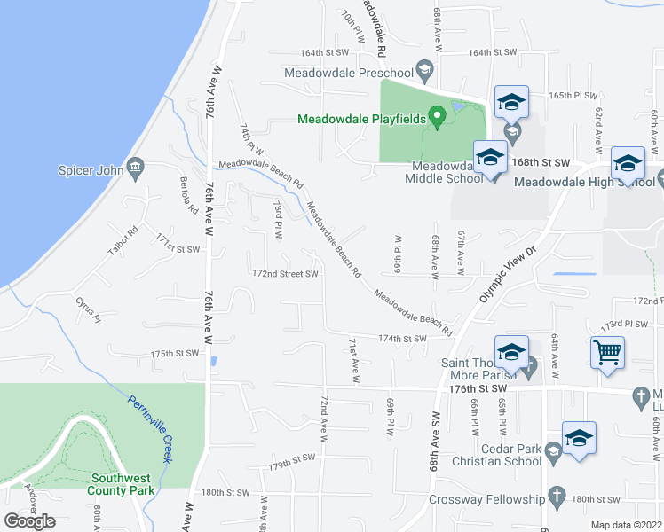 map of restaurants, bars, coffee shops, grocery stores, and more near 17129 72nd Avenue West in Edmonds
