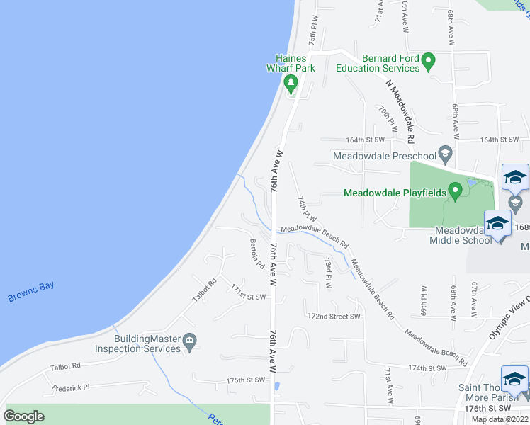 map of restaurants, bars, coffee shops, grocery stores, and more near 16736 76th Avenue West in Edmonds