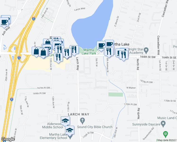 map of restaurants, bars, coffee shops, grocery stores, and more near 16619 Larch Way in Lynnwood