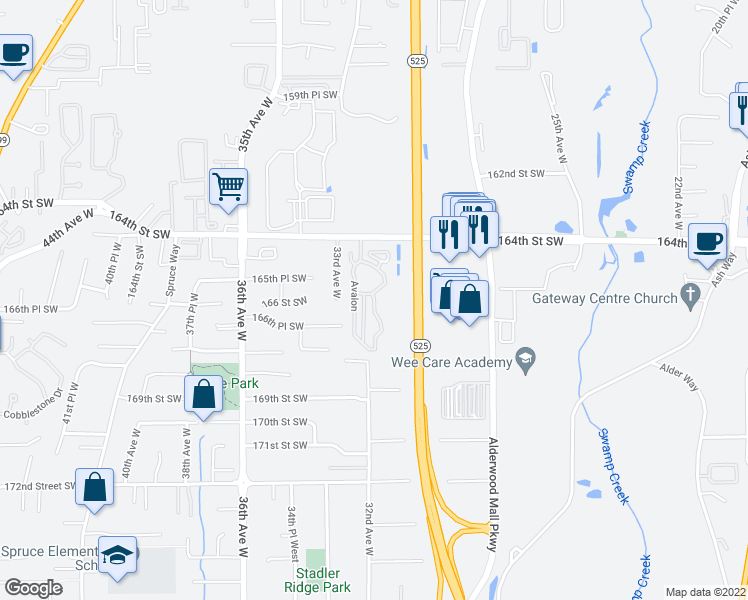 map of restaurants, bars, coffee shops, grocery stores, and more near 3116 164th Street Southwest in Lynnwood