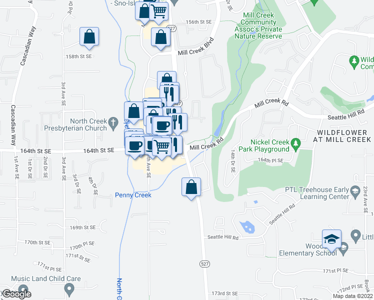 map of restaurants, bars, coffee shops, grocery stores, and more near 16399 Bothell Everett Highway in Mill Creek