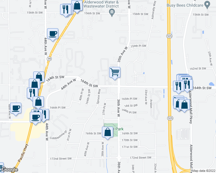 map of restaurants, bars, coffee shops, grocery stores, and more near 3670-3698 164th Street Southwest in Lynnwood