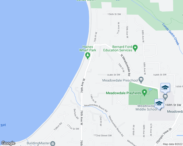 map of restaurants, bars, coffee shops, grocery stores, and more near 16319 75th Place West in Edmonds