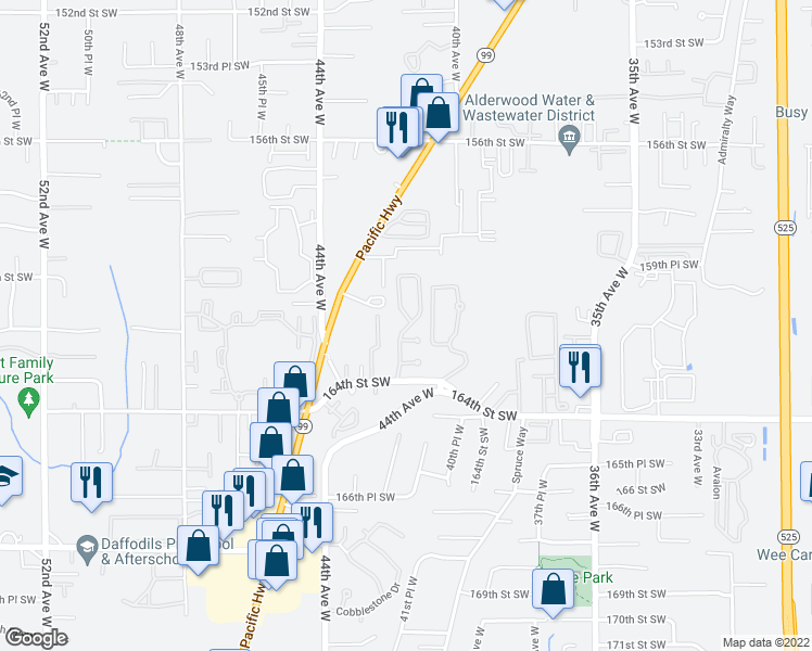 map of restaurants, bars, coffee shops, grocery stores, and more near 4111 164th Street Southwest in Lynnwood