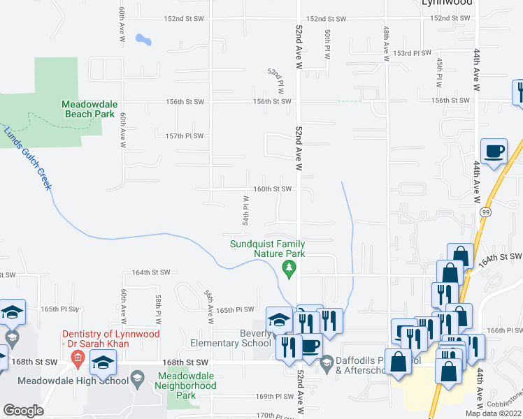 map of restaurants, bars, coffee shops, grocery stores, and more near 5326 160th Street Southwest in Edmonds