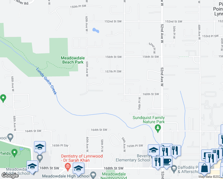 map of restaurants, bars, coffee shops, grocery stores, and more near 15910 56th Avenue West in Edmonds