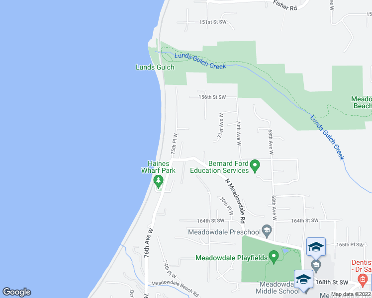 map of restaurants, bars, coffee shops, grocery stores, and more near 15917 74th Place West in Edmonds