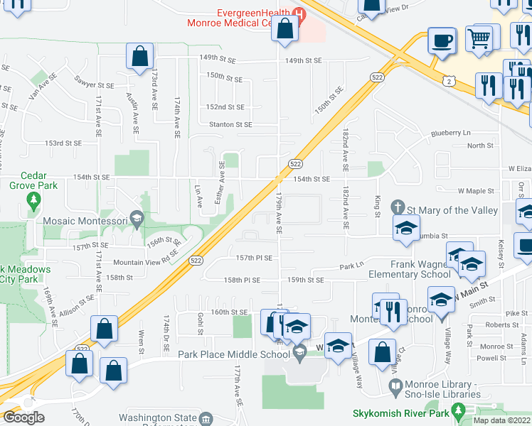 map of restaurants, bars, coffee shops, grocery stores, and more near 17768 155th Place Southeast in Monroe