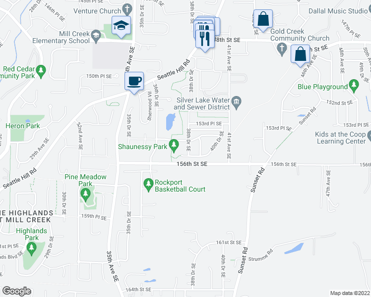 map of restaurants, bars, coffee shops, grocery stores, and more near 15502 38th Drive Southeast in Bothell