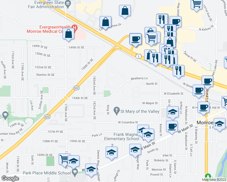map of restaurants, bars, coffee shops, grocery stores, and more near 18463 Blueberry Lane in Monroe