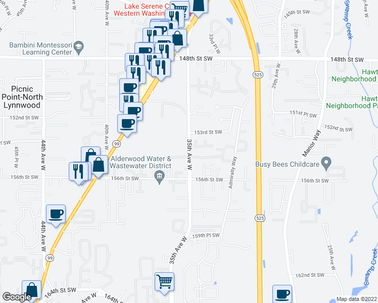 map of restaurants, bars, coffee shops, grocery stores, and more near 15405-15415 35th Avenue West in Lynnwood