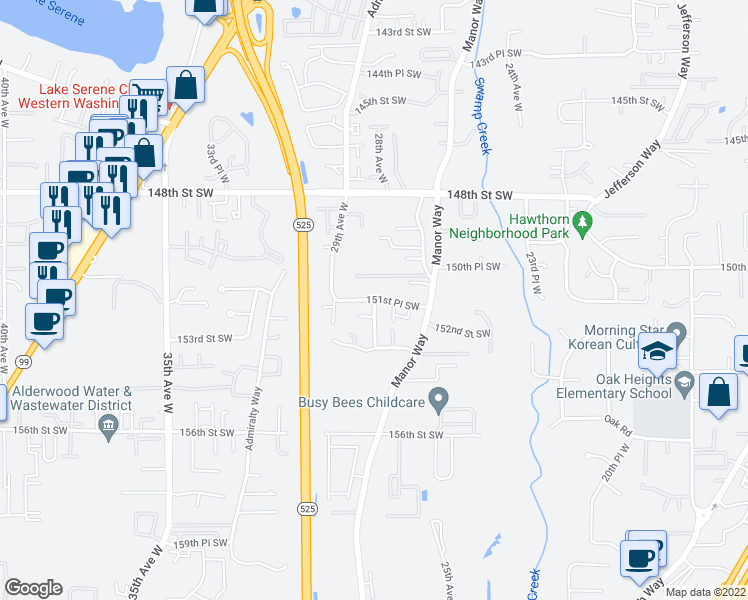 map of restaurants, bars, coffee shops, grocery stores, and more near 14724 28th Avenue West in Lynnwood