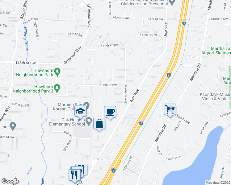map of restaurants, bars, coffee shops, grocery stores, and more near 1627 151st Street Southwest in Lynnwood