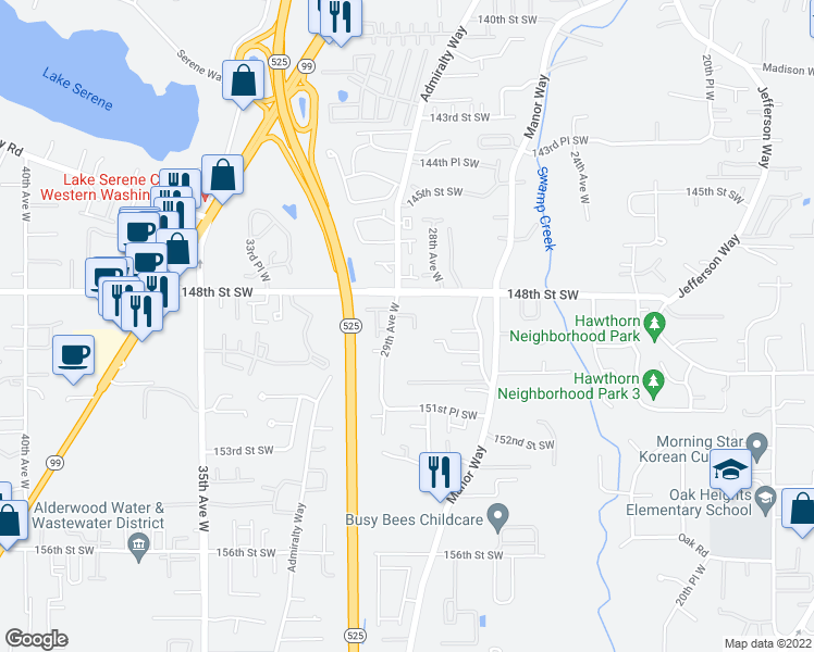 map of restaurants, bars, coffee shops, grocery stores, and more near 14819 29th Avenue West in Lynnwood