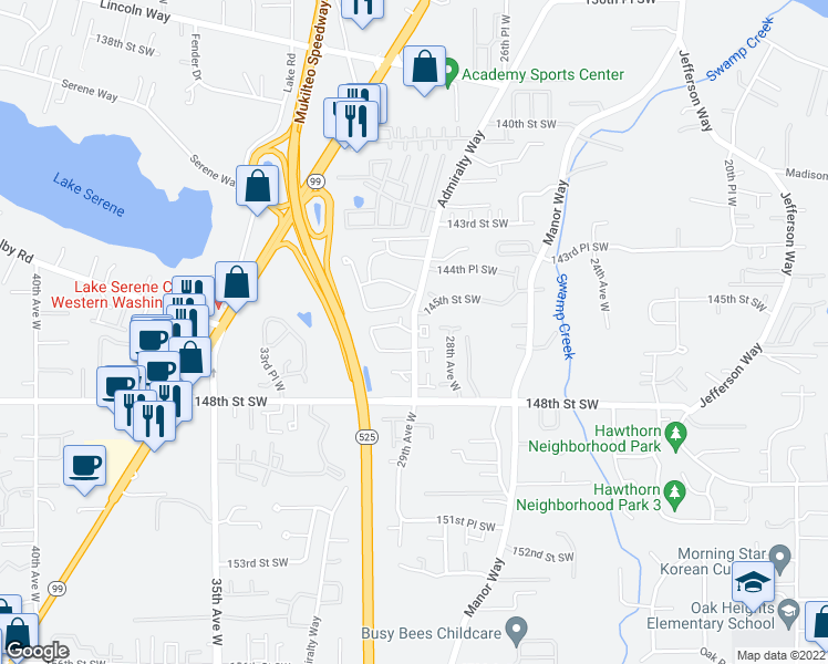 map of restaurants, bars, coffee shops, grocery stores, and more near 2932 145th Street Southwest in Lynnwood