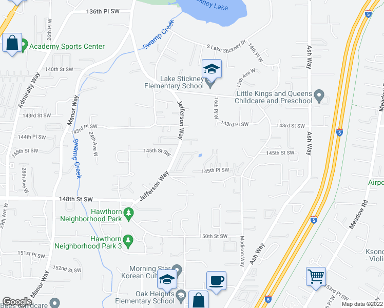 map of restaurants, bars, coffee shops, grocery stores, and more near 1220 145th Street Southwest in Lynnwood