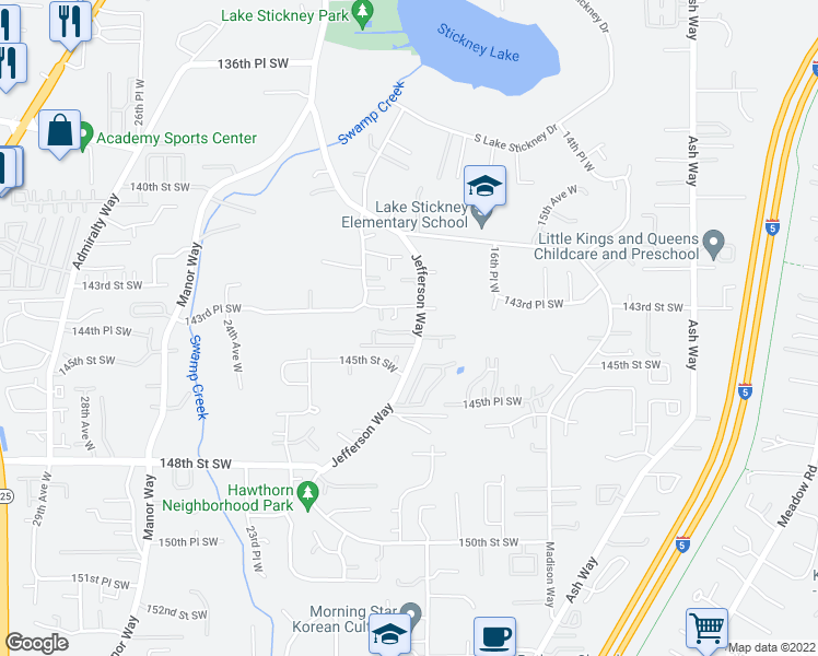 map of restaurants, bars, coffee shops, grocery stores, and more near 1817 144th Lane Southwest in Lynnwood