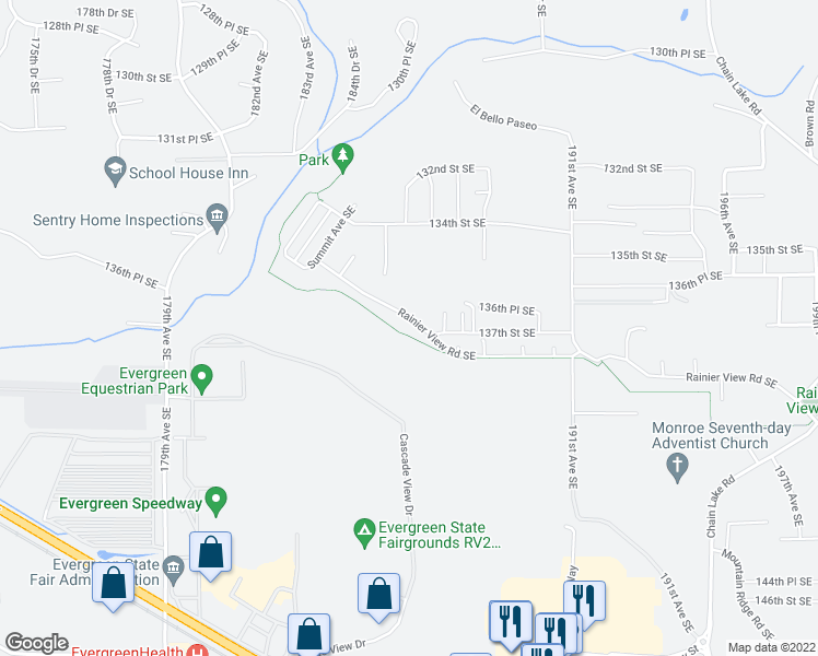 map of restaurants, bars, coffee shops, grocery stores, and more near 18632 Rainier View Rd SE in Monroe