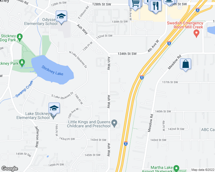map of restaurants, bars, coffee shops, grocery stores, and more near 13724 Ash Way in Everett