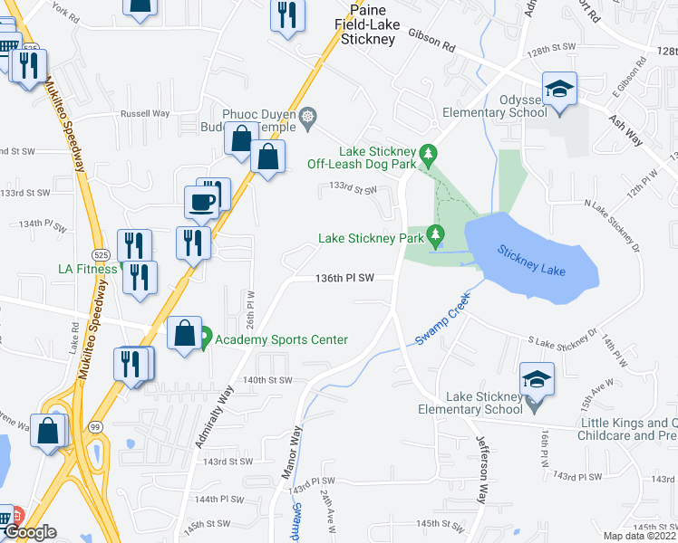 map of restaurants, bars, coffee shops, grocery stores, and more near 2311 136th Place Southwest in Lynnwood
