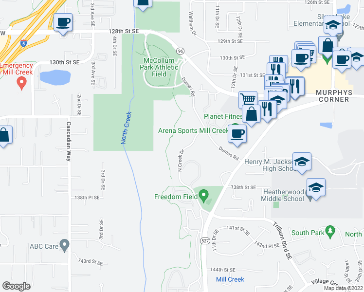 map of restaurants, bars, coffee shops, grocery stores, and more near 13510 North Creek Drive in Mill Creek