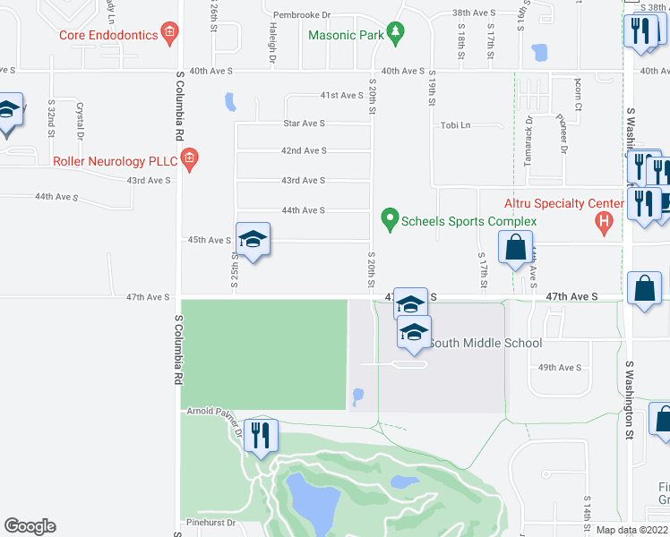 map of restaurants, bars, coffee shops, grocery stores, and more near 2150 47th Avenue South in Grand Forks