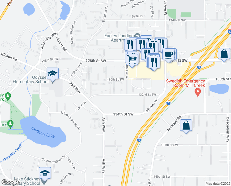 map of restaurants, bars, coffee shops, grocery stores, and more near 900 132nd Street Southwest in Everett