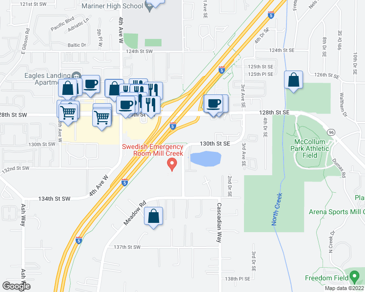 map of restaurants, bars, coffee shops, grocery stores, and more near 13004 Meridian Avenue South in Everett
