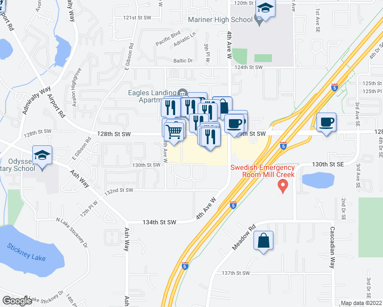 map of restaurants, bars, coffee shops, grocery stores, and more near 628 128th Street Southwest in Everett