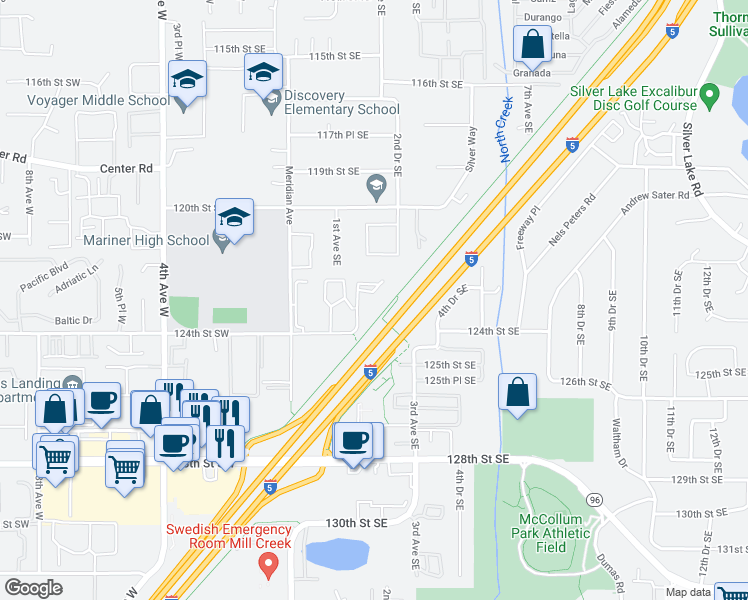 map of restaurants, bars, coffee shops, grocery stores, and more near 133 124th Street Southeast in Everett