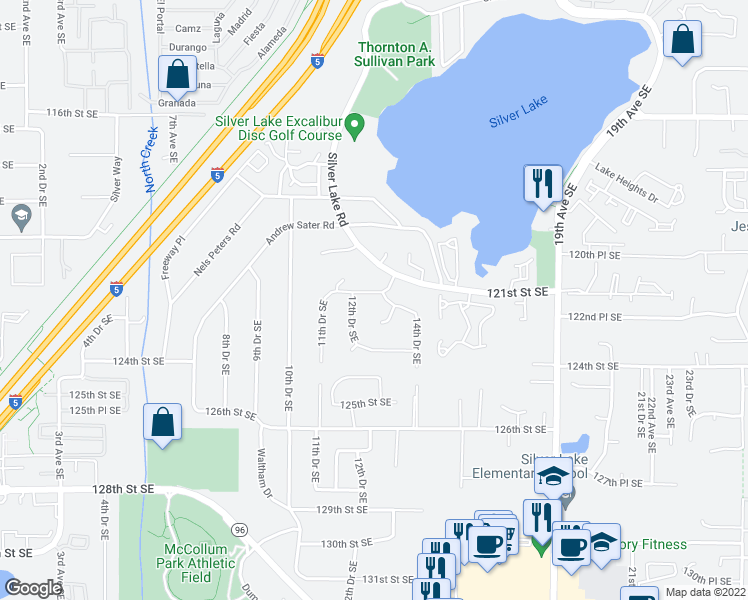map of restaurants, bars, coffee shops, grocery stores, and more near 1306 121st Place Southeast in Everett