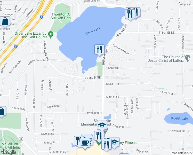 map of restaurants, bars, coffee shops, grocery stores, and more near 1720 121st Street Southeast in Everett