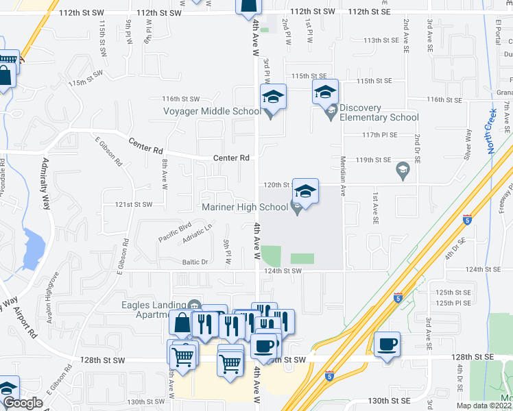 map of restaurants, bars, coffee shops, grocery stores, and more near 12000 4th Avenue West in Everett