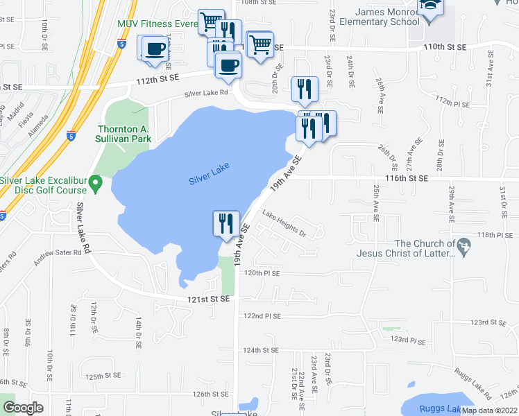 map of restaurants, bars, coffee shops, grocery stores, and more near 11664-11698 19th Avenue Southeast in Everett
