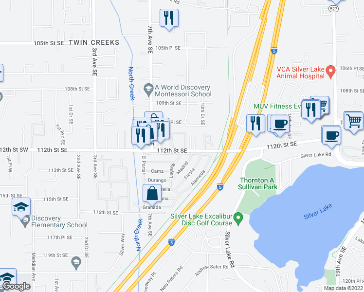 map of restaurants, bars, coffee shops, grocery stores, and more near 805 112th Street Southeast in Everett