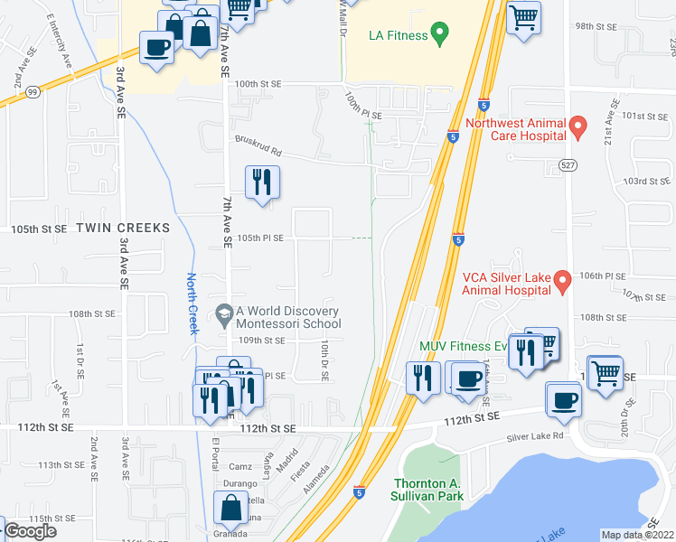 map of restaurants, bars, coffee shops, grocery stores, and more near 10605 10th Drive Southeast in Everett